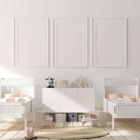 Mock up poster frame in children bedroom interior background, Scandinavian style, 3D render 免版税图像