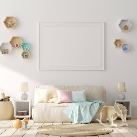 Mock up poster frame in children bedroom interior background, Scandinavian style, 3D render Stock fotó