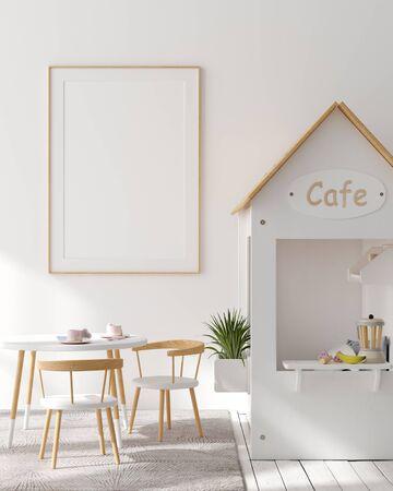 Mock up poster frame in children bedroom interior background, Scandinavian style, 3D render Archivio Fotografico