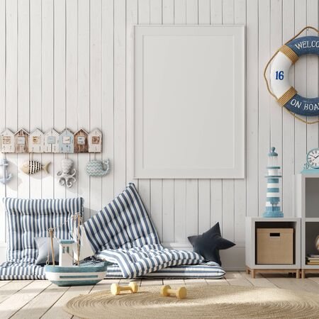 Mock up poster, wall in children bedroom interior background, Scandinavian style, 3D render