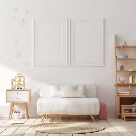 Mock up poster, muur in kinderkamer interieur achtergrond, Scandinavische stijl, 3D render Stockfoto