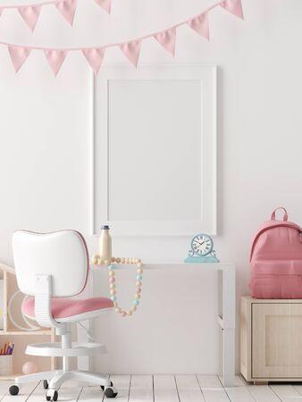 Mock up poster, wall in children bedroom interior background, Scandinavian style, 3D render
