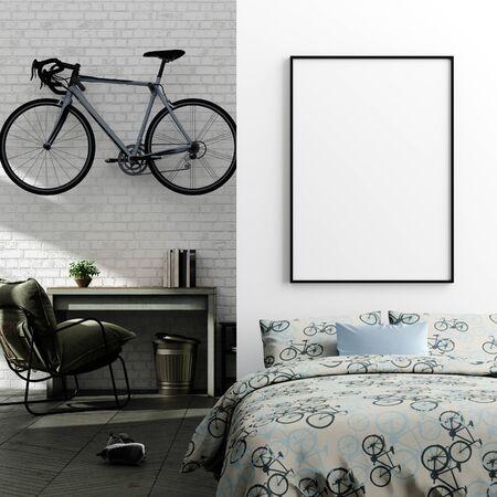 Mock up poster in jongen tiener slaapkamer interieur achtergrond, industriële stijl, 3d render Stockfoto
