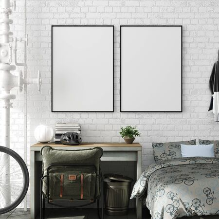 Mock up poster in boy teenage bedroom interior background, industrial style, 3d render