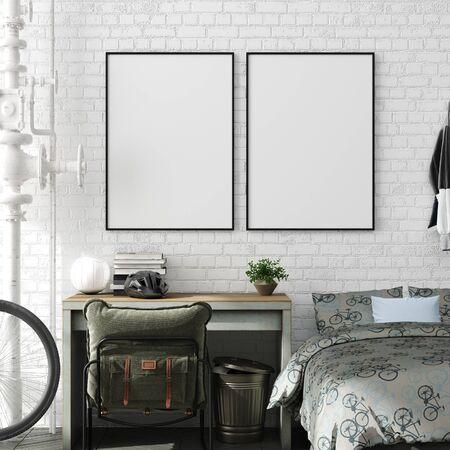 Mock up poster in jongen tiener slaapkamer interieur achtergrond, industriële stijl, 3d render