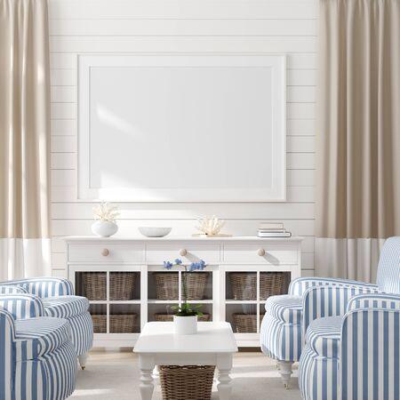 Mock up frame sullo sfondo interno della casa, soggiorno in stile costiero con decorazioni marine, rendering 3d