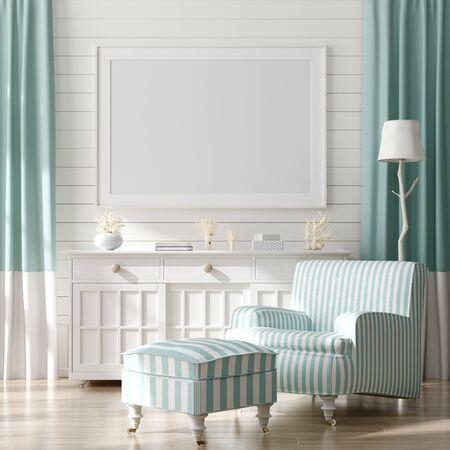 Cadre de maquette sur fond intérieur de maison, salon de style côtier avec décor marin, rendu 3d Banque d'images