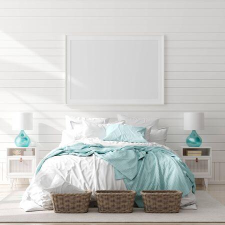 Simulacros de marco en el interior del dormitorio, sala marina con decoración y muebles de mar, estilo costero, render 3d