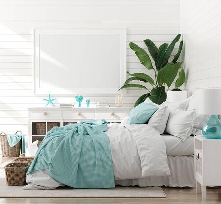 Mock-up-Rahmen im Schlafzimmerinnenraum, Marineraum mit Meeresdekor und Möbeln, Küstenstil, 3D-Rendering Standard-Bild