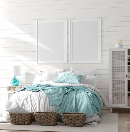 Mock up frame in slaapkamer interieur, zeekamer met zee decor en meubilair, kuststijl, 3d render Stockfoto