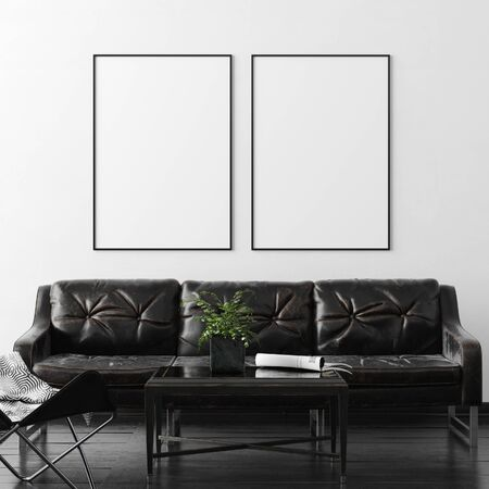 Poster, wall mockup in interior background with dark furniture, industrial style, 3d render Stock fotó
