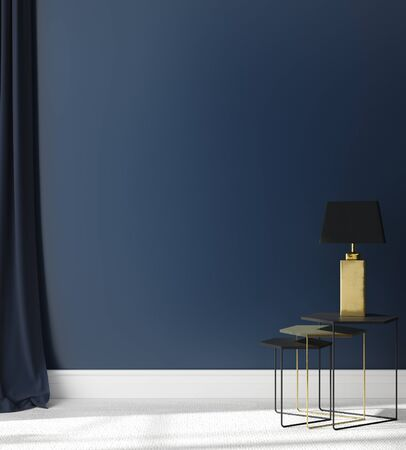 Wall mock up in dark blue interior background, 3d render Stock Photo