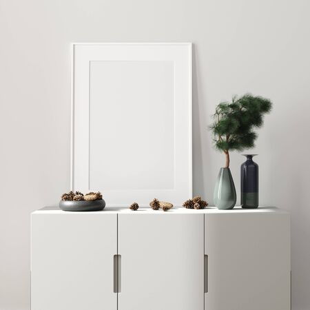 Modern interior, natural pastel colors room background with poster mock up, 3d render