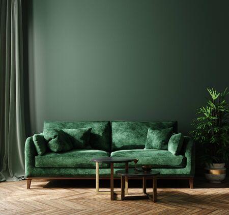 Makieta wnętrza domu z zieloną sofą, stołem i wystrojem w salonie, renderowanie 3d