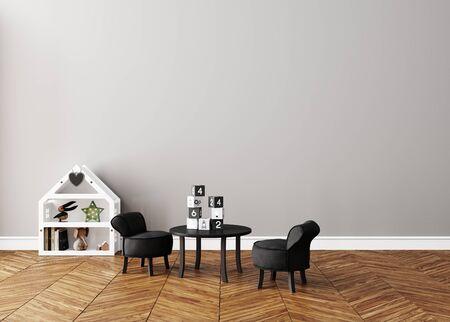 Wall mock up in children room interior, Scandinavian style, 3d render Banco de Imagens