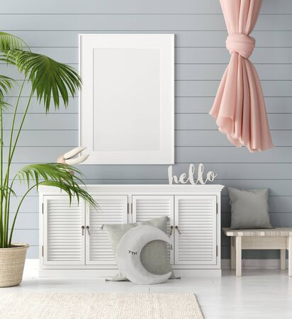 Mock up poster in children room background, pastel color room with natural wicker and wooden toys, 3d render