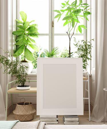 Mockup-Poster im Schlafzimmer, skandinavischer Stil, 3D-Rendering Standard-Bild