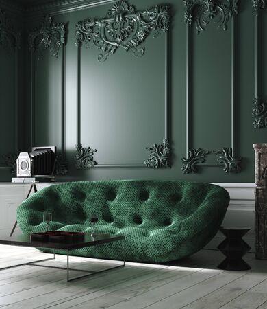 Home interior mock-up with green sofa in living room, 3d render Banco de Imagens