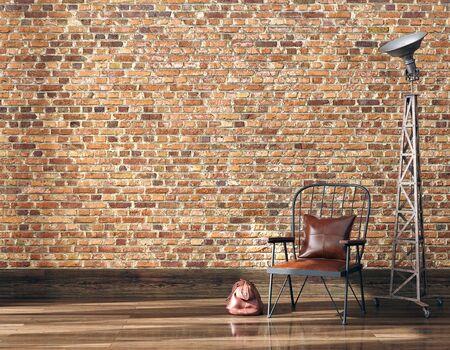Sfondo interno industriale minimalista, rendering 3d