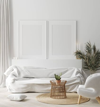 Mock up frame in cozy white home interior, Scandinavian style, 3d render