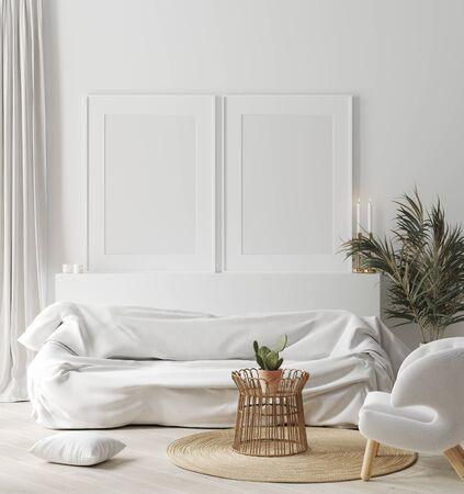 Simulacros de marco en el acogedor interior de una casa blanca, estilo escandinavo, render 3d