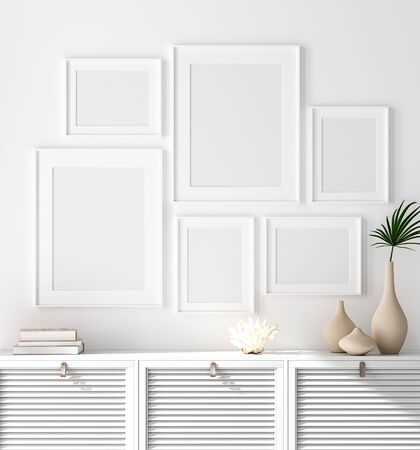 Mock up poster frame on chest of drawers near white wall, Scandinavian style, 3d render