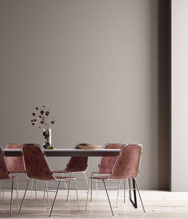 Muro, poster mock up in sala da pranzo, interni minimalisti, rendering 3d