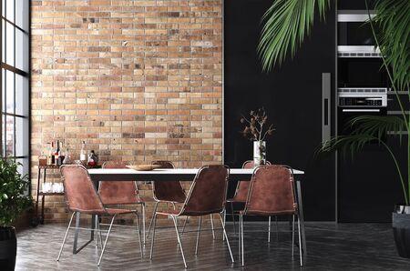 Kitchen in loft, Industrial style ,3d render Stock fotó