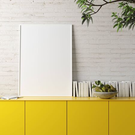 Mockup poster frame in living room loft in industrial style, 3d render Stock fotó