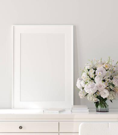 Modern home interior, poster mock up, 3d render Banco de Imagens