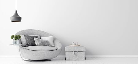 Home interior with gray sofa and white wall mock up, Scandinavian style, 3d render Banco de Imagens