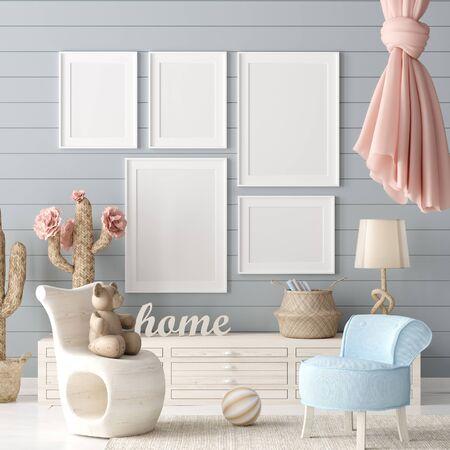 Mock up poster in kids bedroom interior background, Scandinavian style, 3D render Banco de Imagens