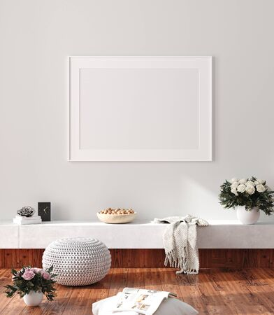 Modern home interior, poster mock up, 3d render