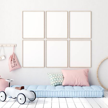 Mock up poster in kids bedroom interior background, Scandinavian style, 3D render Stock fotó