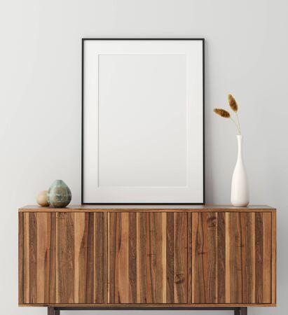 Mock up poster frame on wooden cabinet in home interior, 3d render Stock fotó