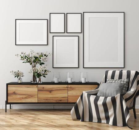 Mock up poster frame in home interior, Scandinavian style, 3d render