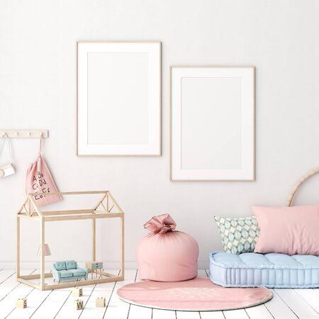 Mock up poster in kids bedroom interior background, Scandinavian style, 3D render Archivio Fotografico