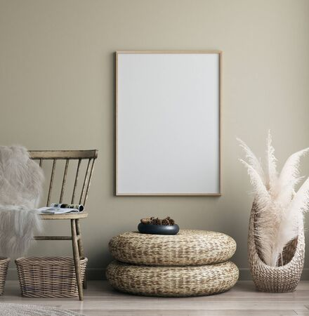 Poster mock up in home interior with old bench, Scandinavian bohemian style, 3d render