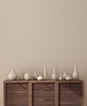 Vases on chest of drawers close up near wall, wall mock up, 3d render Stock fotó