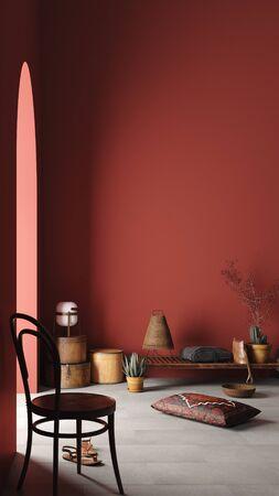 Maqueta interior de una casa rústica con banco, sillas y decoración en la habitación roja, renderizado 3d