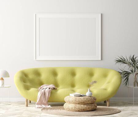 Mock up poster frame in hipster home interior background, 3d render