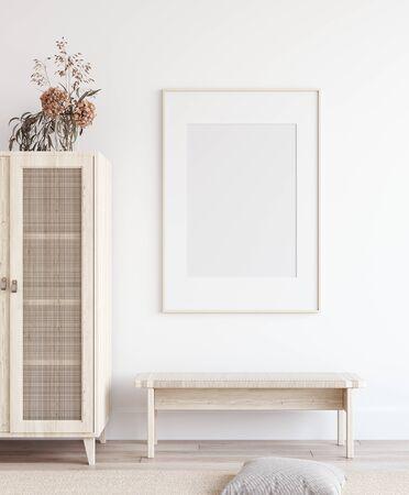 Affiche de maquette à l'intérieur d'une maison scandinave, rendu 3d