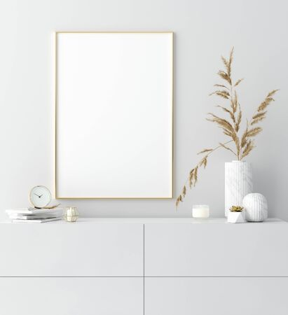 Mock up golden frame in white interior with simple modern decor, Scandinavian style, 3d render
