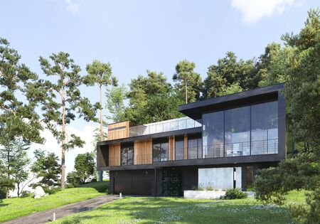 Modern house in forest, 3d render