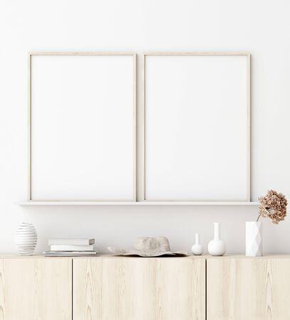 Mock up poster frame in living room interior. Interior Scandinavian style. 3d render