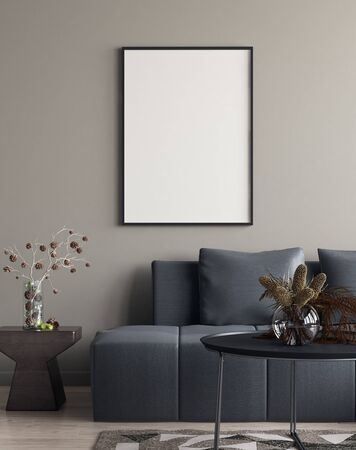 Mock up poster in interior with minimal decor, 3D render
