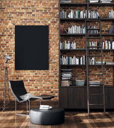 Fondo interior industrial minimalista, render 3d