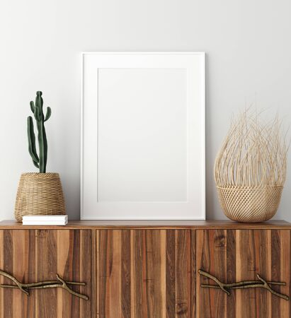 Mock up poster frame on wooden cabinet in home interior, 3d render Reklamní fotografie