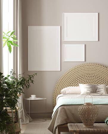 Mockup poster in bedroom, Scandinavian style, 3d rendering Banco de Imagens