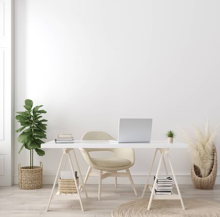 Poster mock up in home interior background, home office, Scandi-boho style, 3d render 写真素材